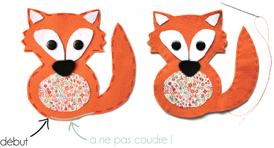 Etape 7 : dessin de la couture à réaliser tout le long du renard
